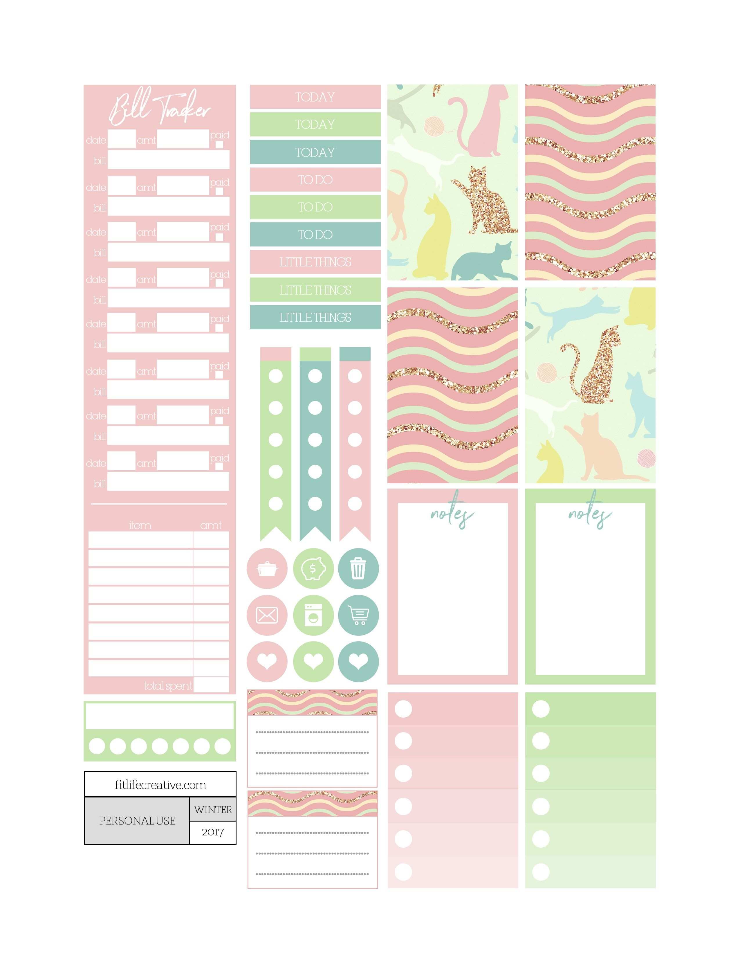 Free Playful Cats Planner Stickers Fit Life Creative Planner Stickers Happy Planner Stickers Happy Planner Printables