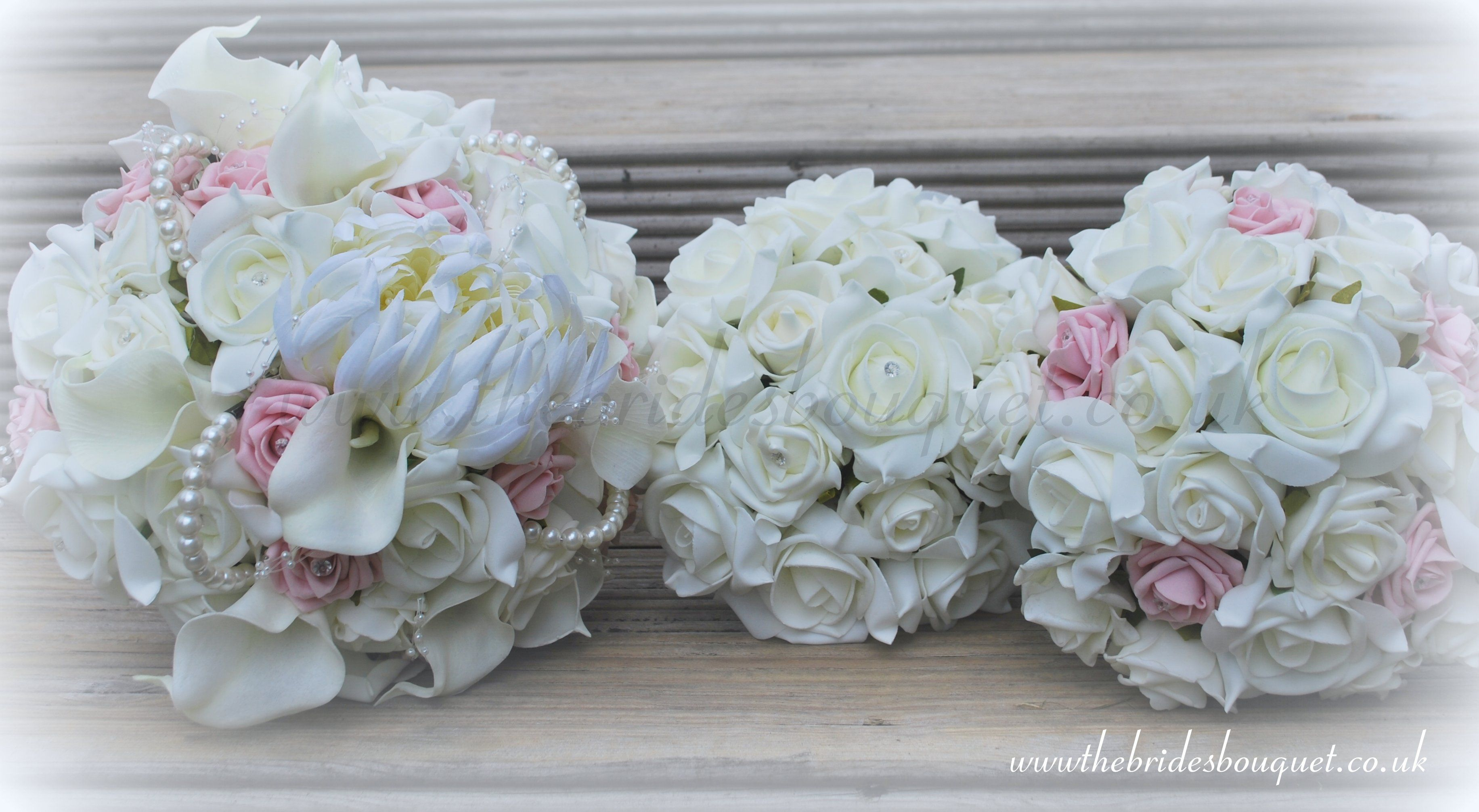 Ivory And Baby Pink Bridal Flower Collection Brides Bouquet Toss