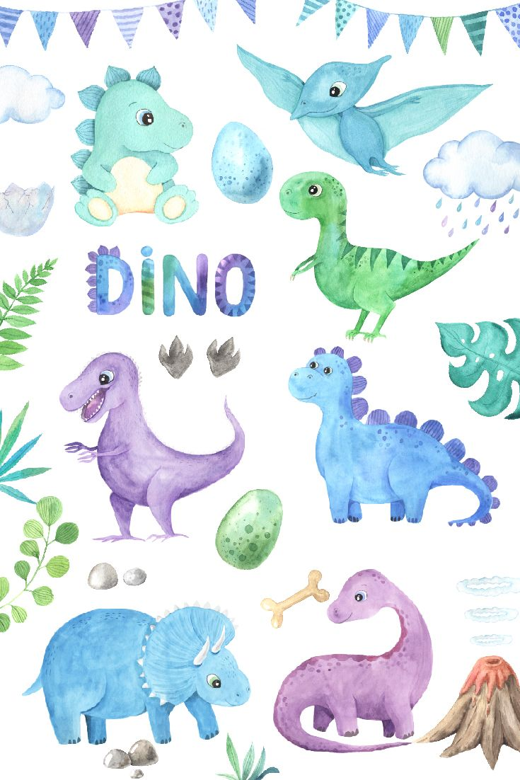 This collection of Watercolor Dinosaurs includes cute little and big dino Triceratops, Diplodocus, Pteradactyl, Dragon, Stegosaurus characters, herbivorous and predatory reptiles characters, green leaves and branches, dino eggs, palm, volcano and stones, alphabet letters and numbers, print posters and seamless patterns.
