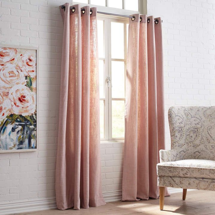 Cassidy Chambray Grommet Blush Pink Curtain