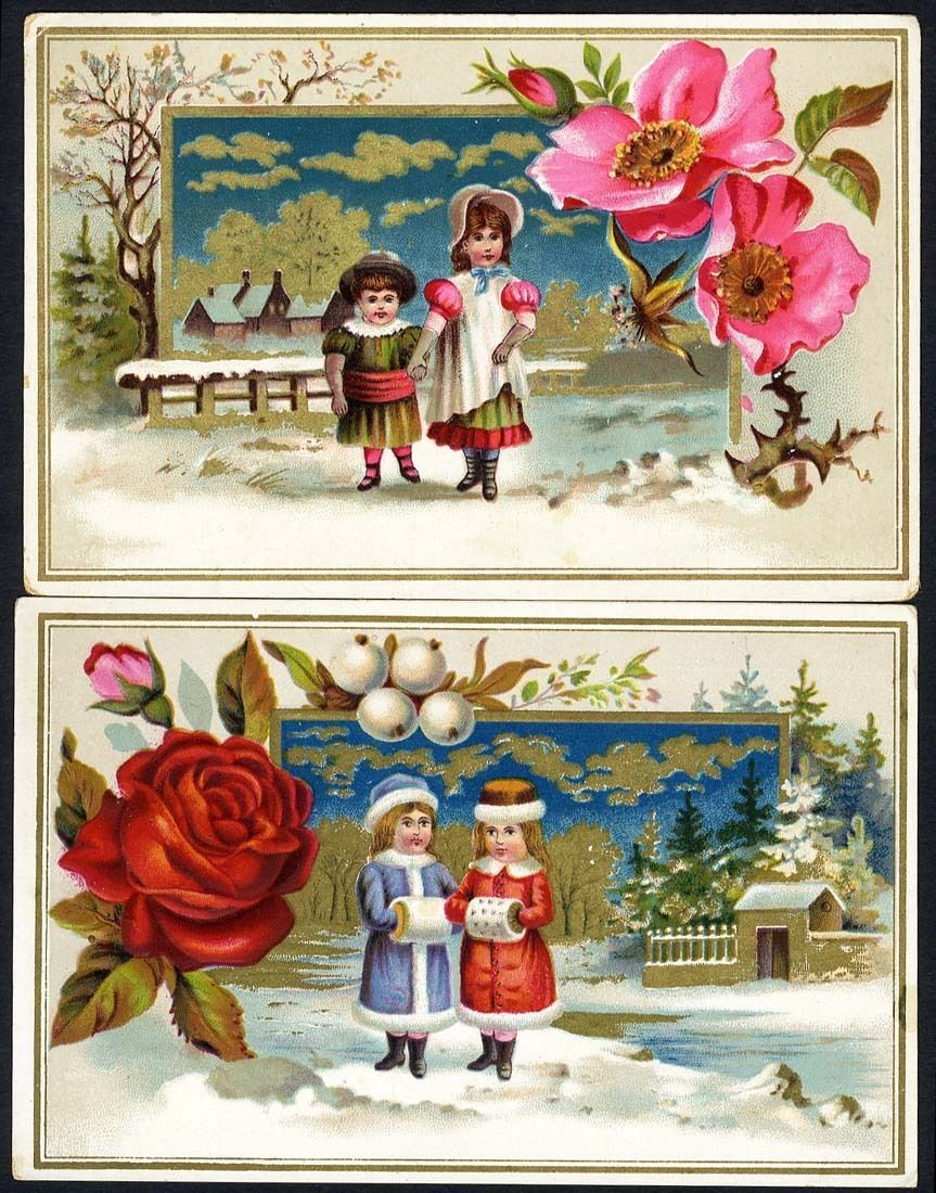 2 victorian greeting cards 1880s children in the snow. Black Bedroom Furniture Sets. Home Design Ideas