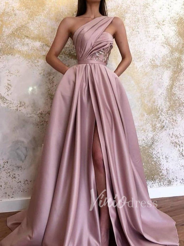 One Shouder Dusty Rose Prom Dresses With Pockets Fd1540 In 2020 Rose Prom Dress Dusty Rose Dress Prom Dresses