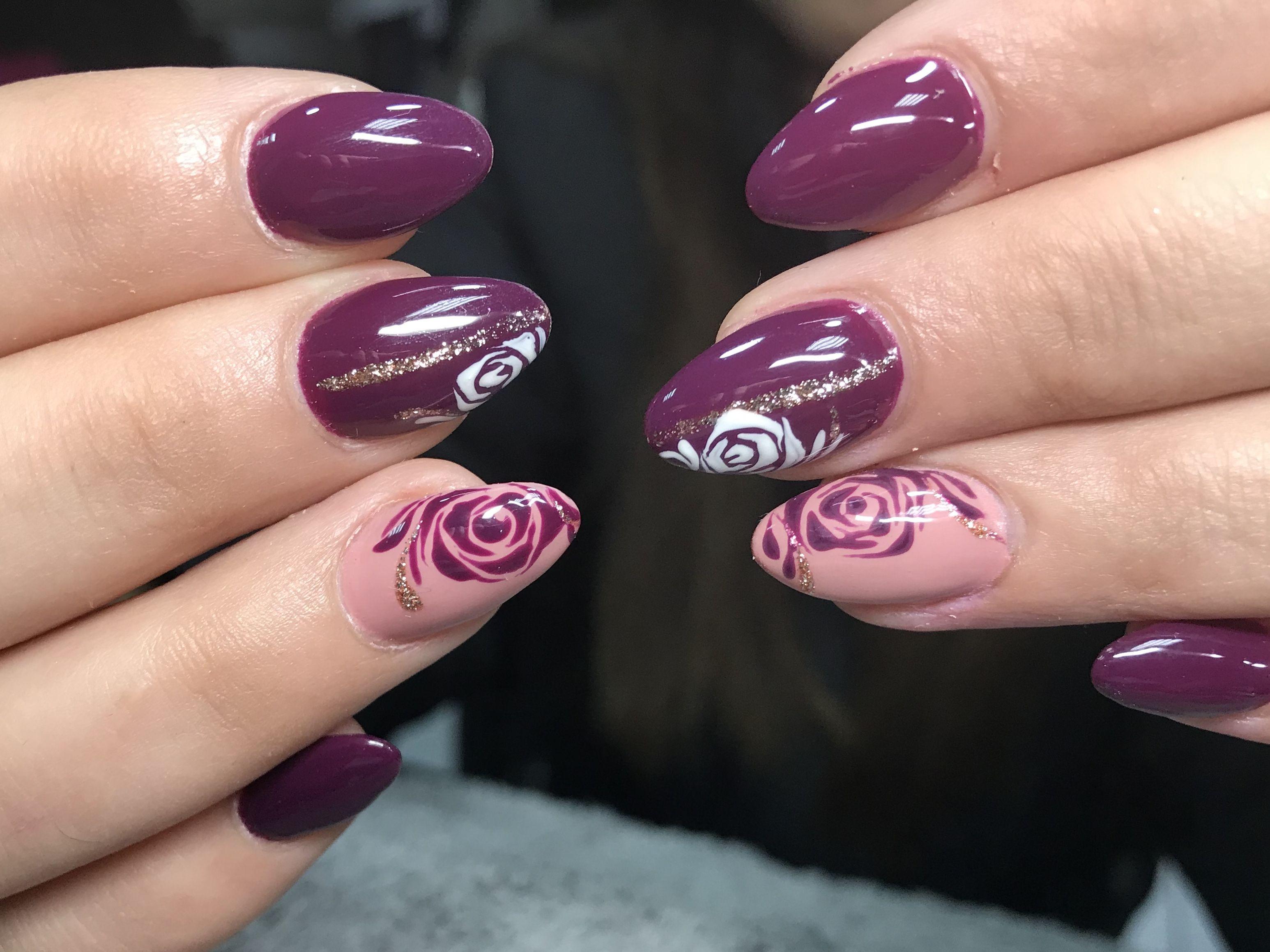 Roses Nail Art Burgundy Nail Designs Nail Art Flower Nails