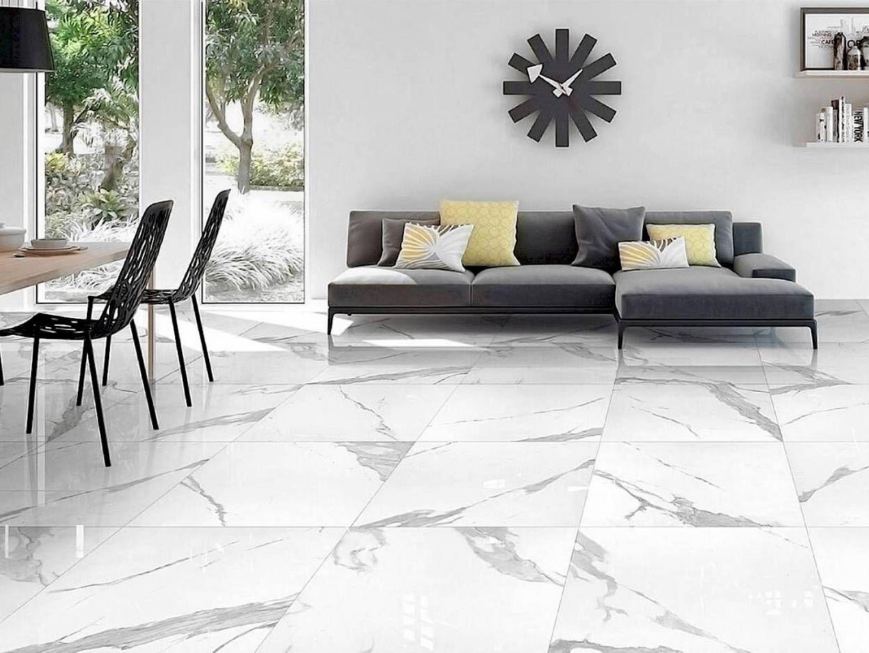 Plancher En Carreaux De Porcelaine Imitation Marbre Blanc Avec