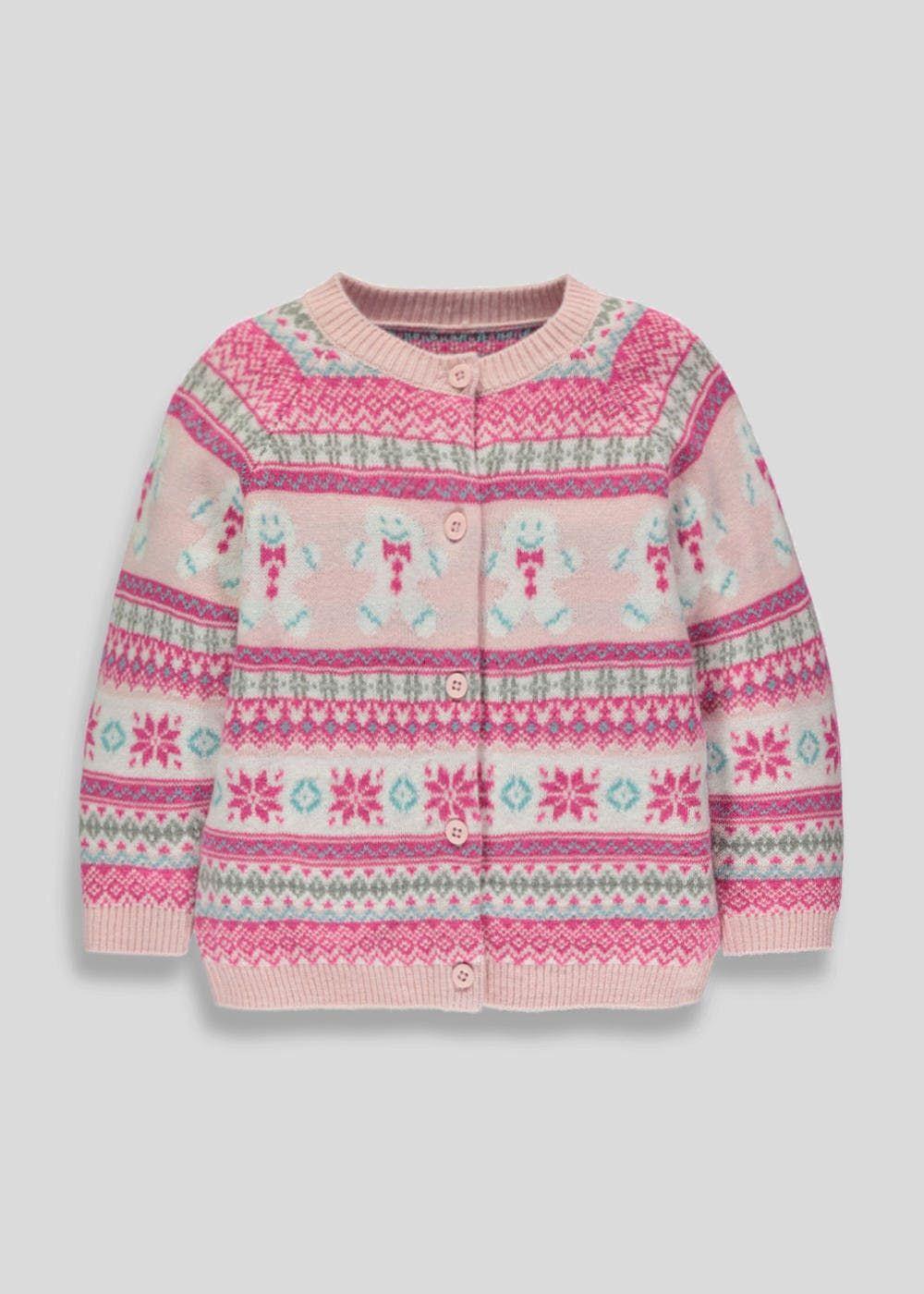 Baby pink dungaree dress  Girls Gingerbread Man Christmas Cardigan mthsyrs u Matalan