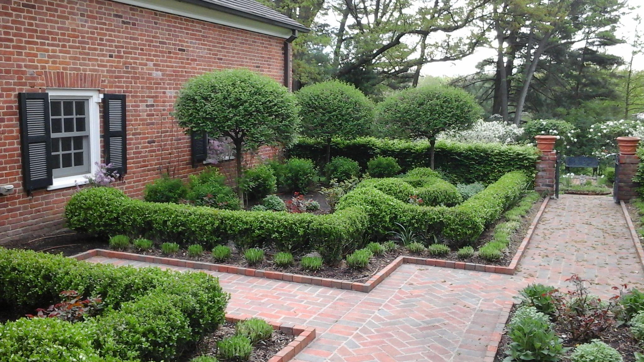 Formal English Garden Hedges Of Boxwoods And Burning Bushes