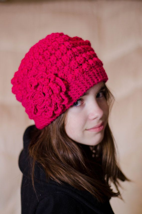 Hot Pink Bobble Beanie from Etsy $20