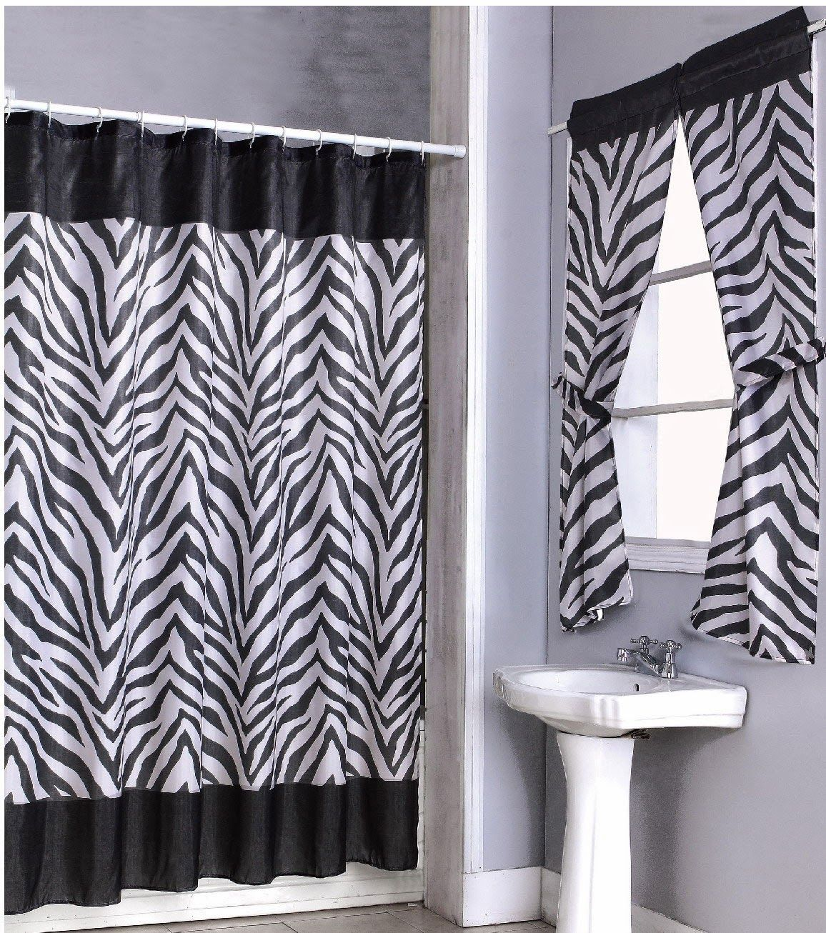 Curtain Ideas Zebra Bathroom Window Curtains Shower Curtain