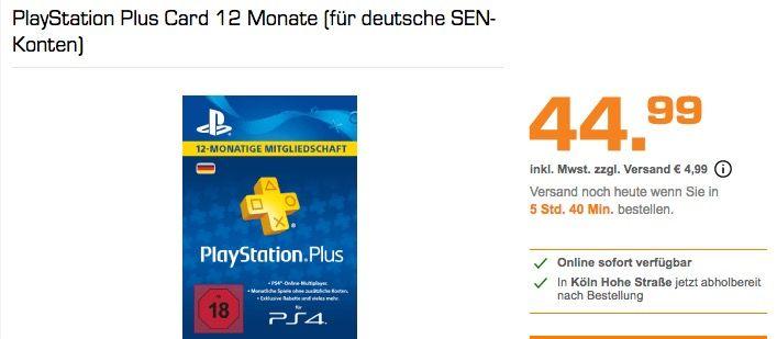 Playstation Plus Card 12 Monate Fur Deutsche Sen Konten