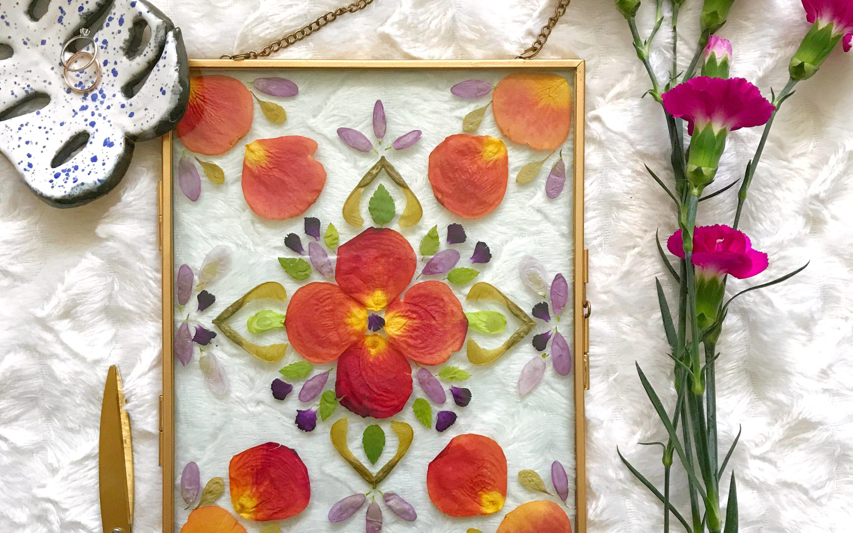 Diy pressed flower art in a floating frame with images