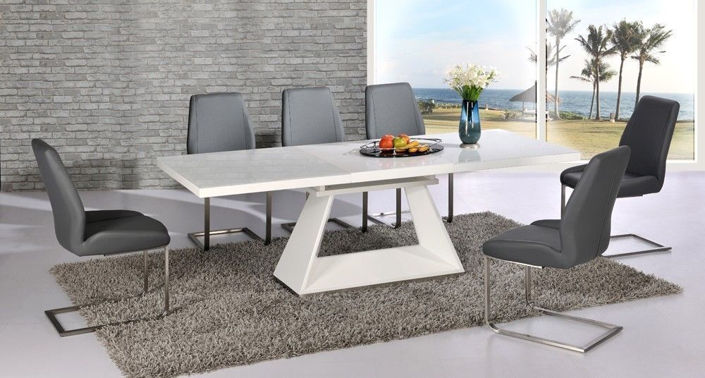 White high gloss extending dining table and 8 grey chairs set with glass top high gloss - White extending dining tables ...