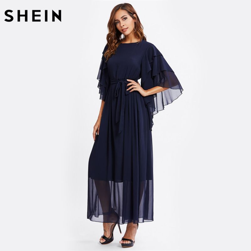ff86920605 SHEIN Layered Bell Sleeve Belted Hijab Evening Dress Winter Dresses Women  2017 Navy Long Sleeve A Line Maxi Dress #Hijab dress