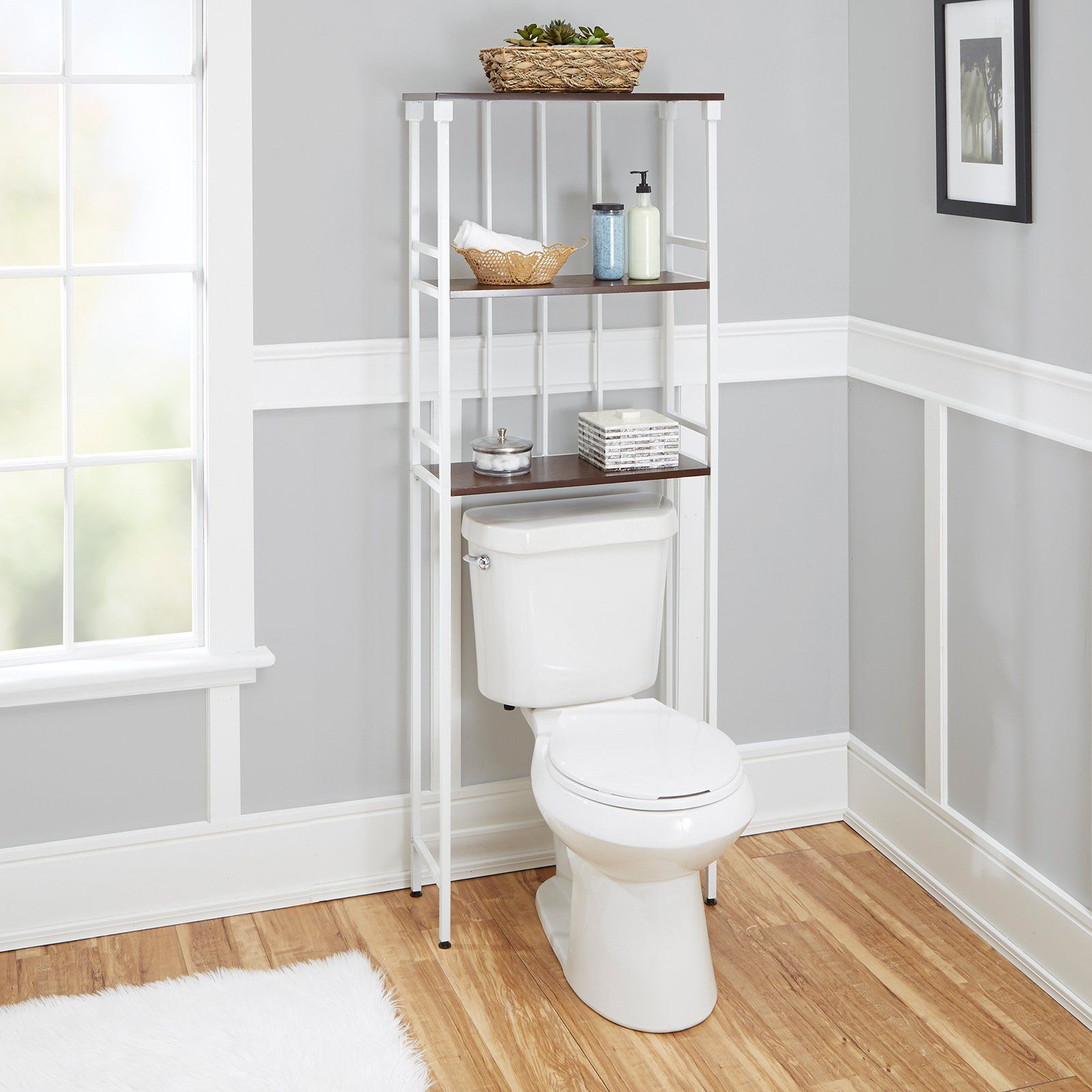 utilize more space with this silverwood products mixed material bathroom collection 3 tier spacesaver it fits over your toilet and offers three wood - Bathroom Cabinets That Fit Over The Toilet