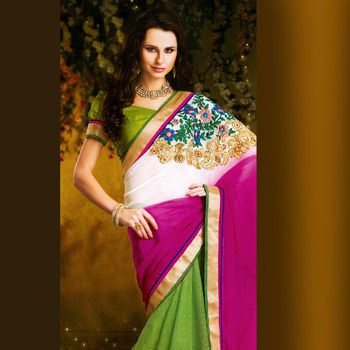 Off White, Fuchsia Pink and Green Faux Chiffon and Art Silk Saree with Blouse
