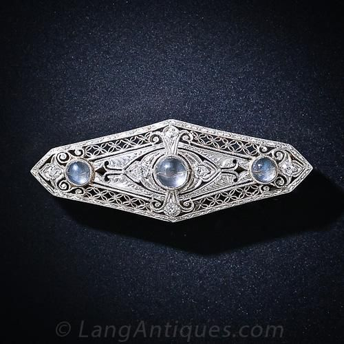 f10286b2e Antique Moonstone and Diamond Bar Brooch - 50-1-4148 - Lang Antiques. A  trio of shimmering moonstones glisten from the center of this exquisite ...
