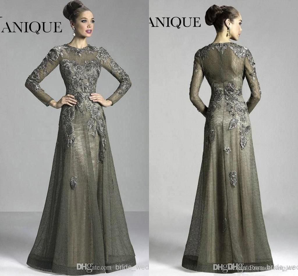 86b8d424e0 2016 Janique Dark Grey Winter Long Sleeves Mother Of The Bridal Dresses  Sheer Crew Neck Lace Flowers A Line Floor Length Evening Dressbo9638 Silver  Mother ...