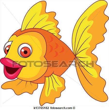 schattig, gouden, visje, spotprent Bekijk Grotere Grafiek
