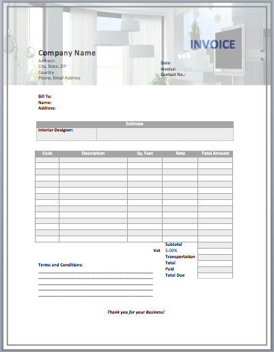 Interior Design Invoice Template  Interior Design Sample Work