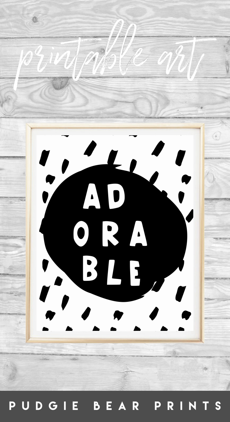 Printable uadorableu nursery art black and white boys print