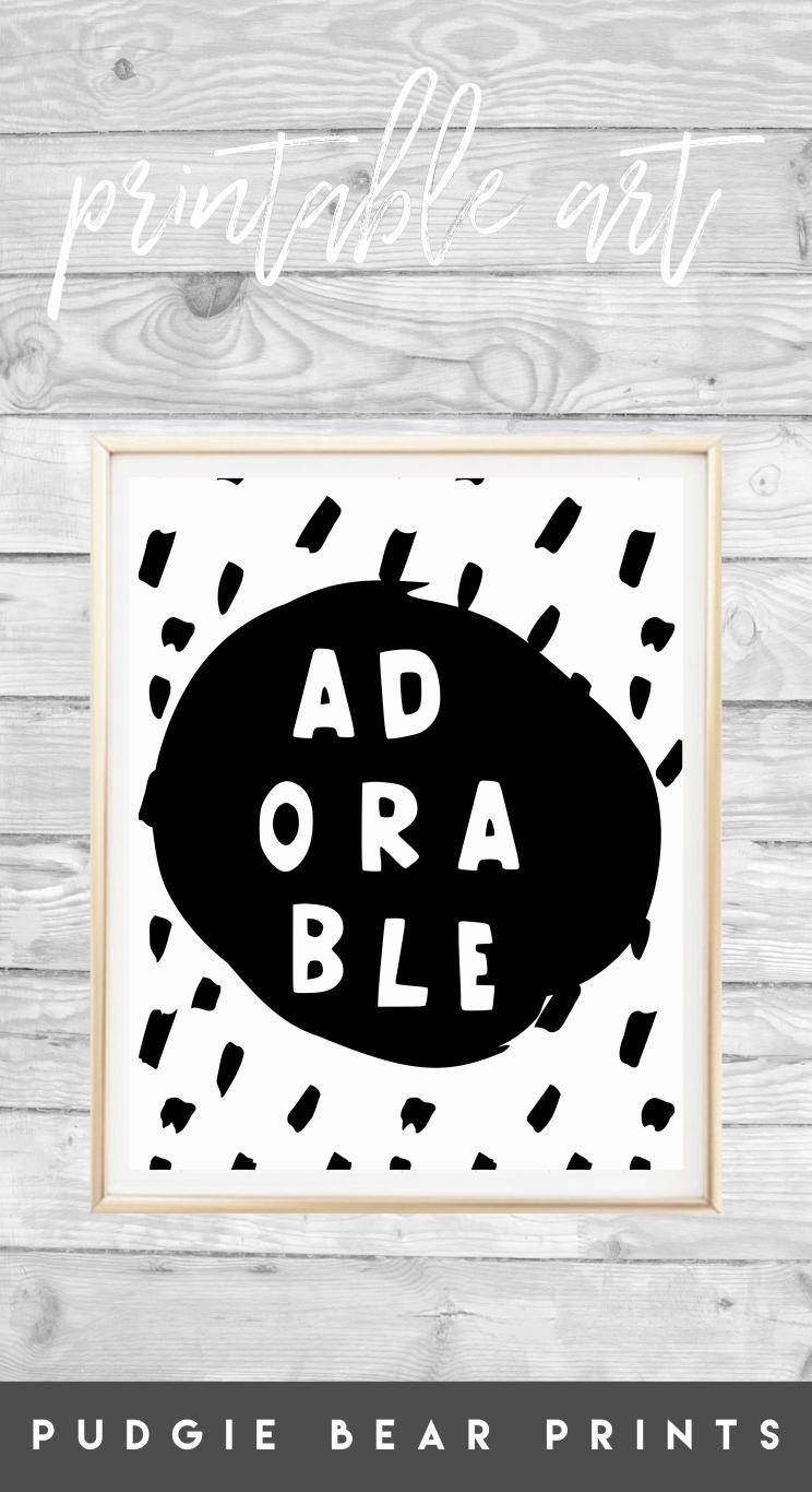 Printable uadorableu nursery art black and white boys print