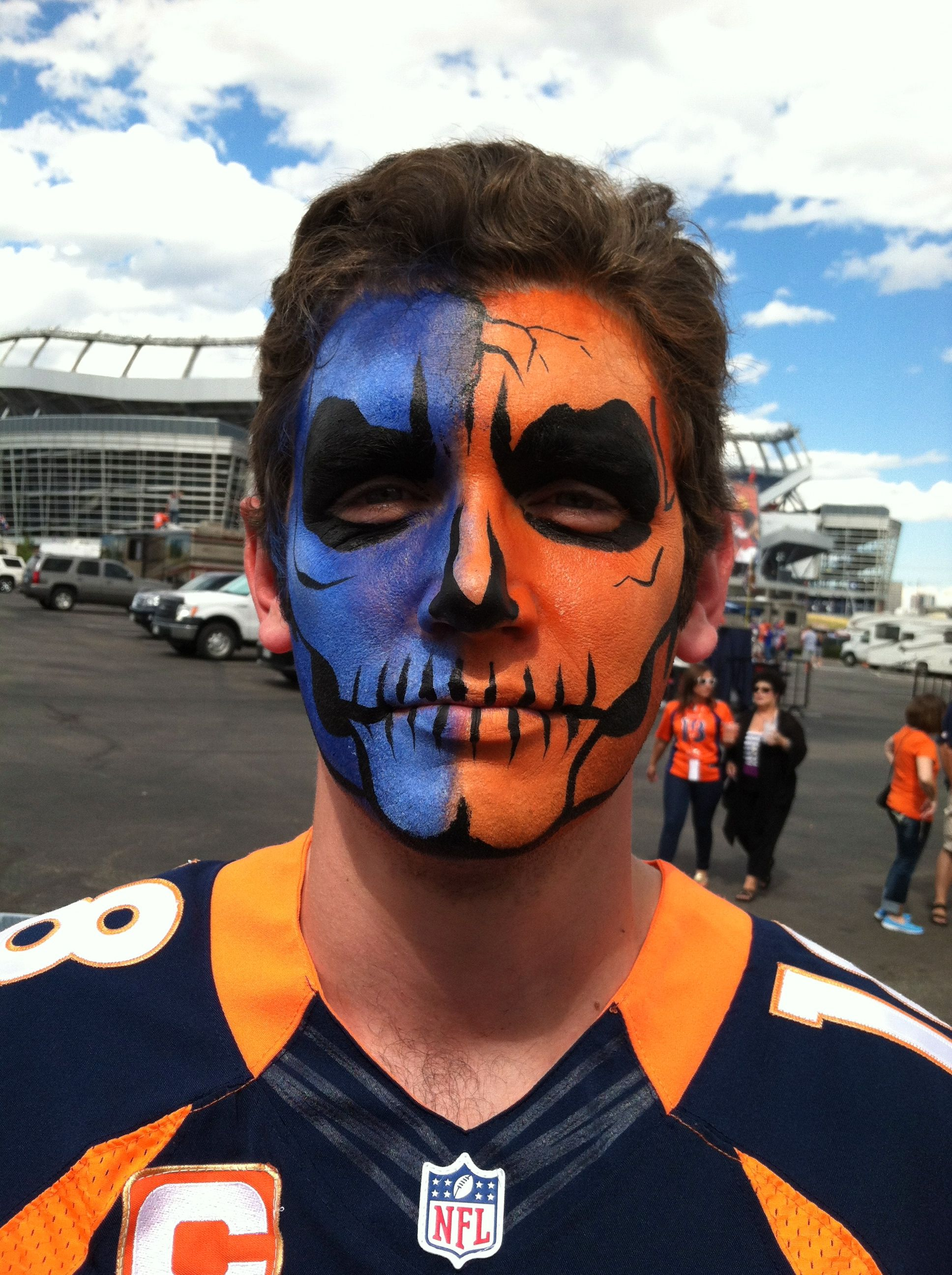 Denver Broncos Skull Face Painting For The Big Game Skull Face Paint Football Face Paint Fan Face Paint