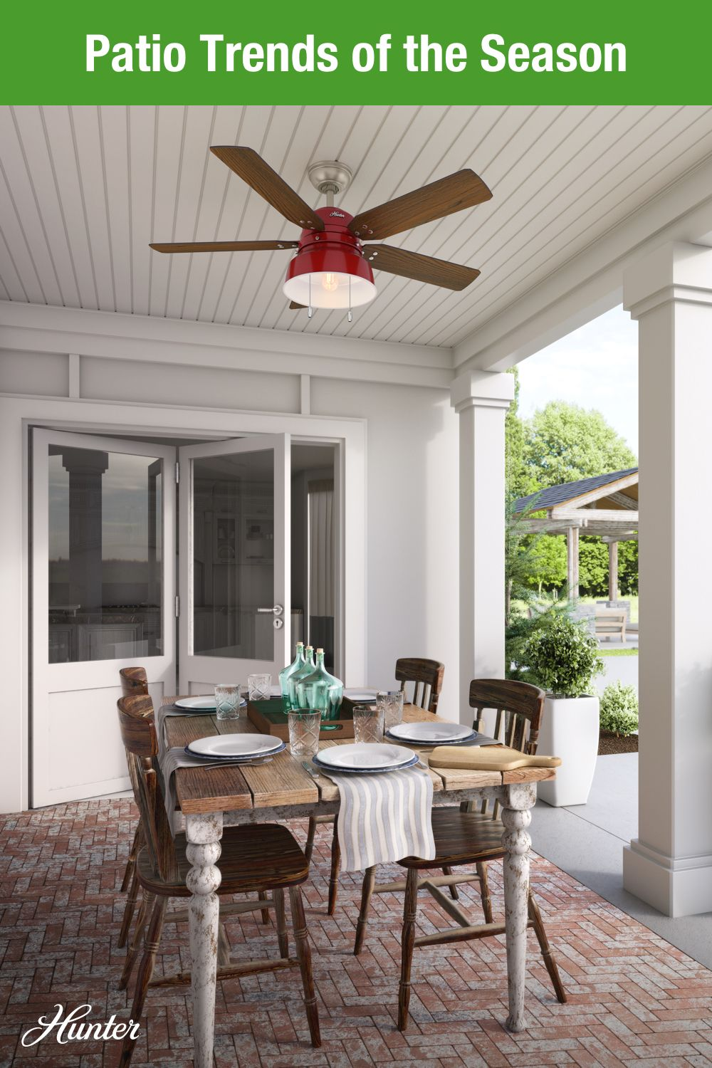 Patio Trends To Refresh Your Outdoor Living Space Outdoor Fans Patio Outdoor Ceiling Fans White Ceiling