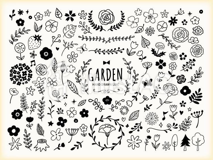 春の花と植物の手書きの線画イラスト 刺繍 図案 花 イラスト イラスト 手書き