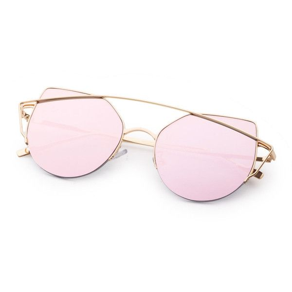 d32d2fe632 Metal Frame Double Bridge Pink Cat Eye Sunglasses ❤ liked on Polyvore  featuring accessories