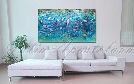 Large Silver Wall Decor: 48inch Abstract Painting, Large Print, Turquoise Art, Sea