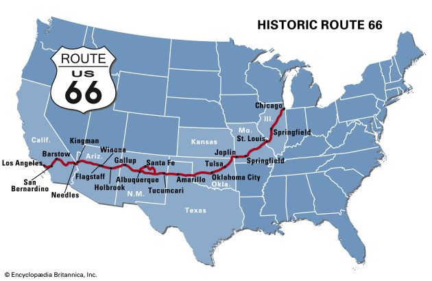 Route 66 Highway United States Britannica Com New Usa Map holiday