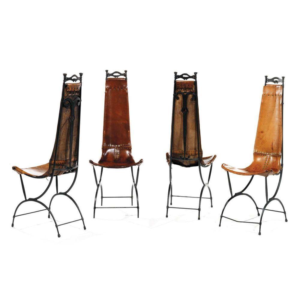 SIDO (1934-1986) & FRANÇOIS (1931-2016) THÉVENIN Suite de quatre chaises élancées en fer battu