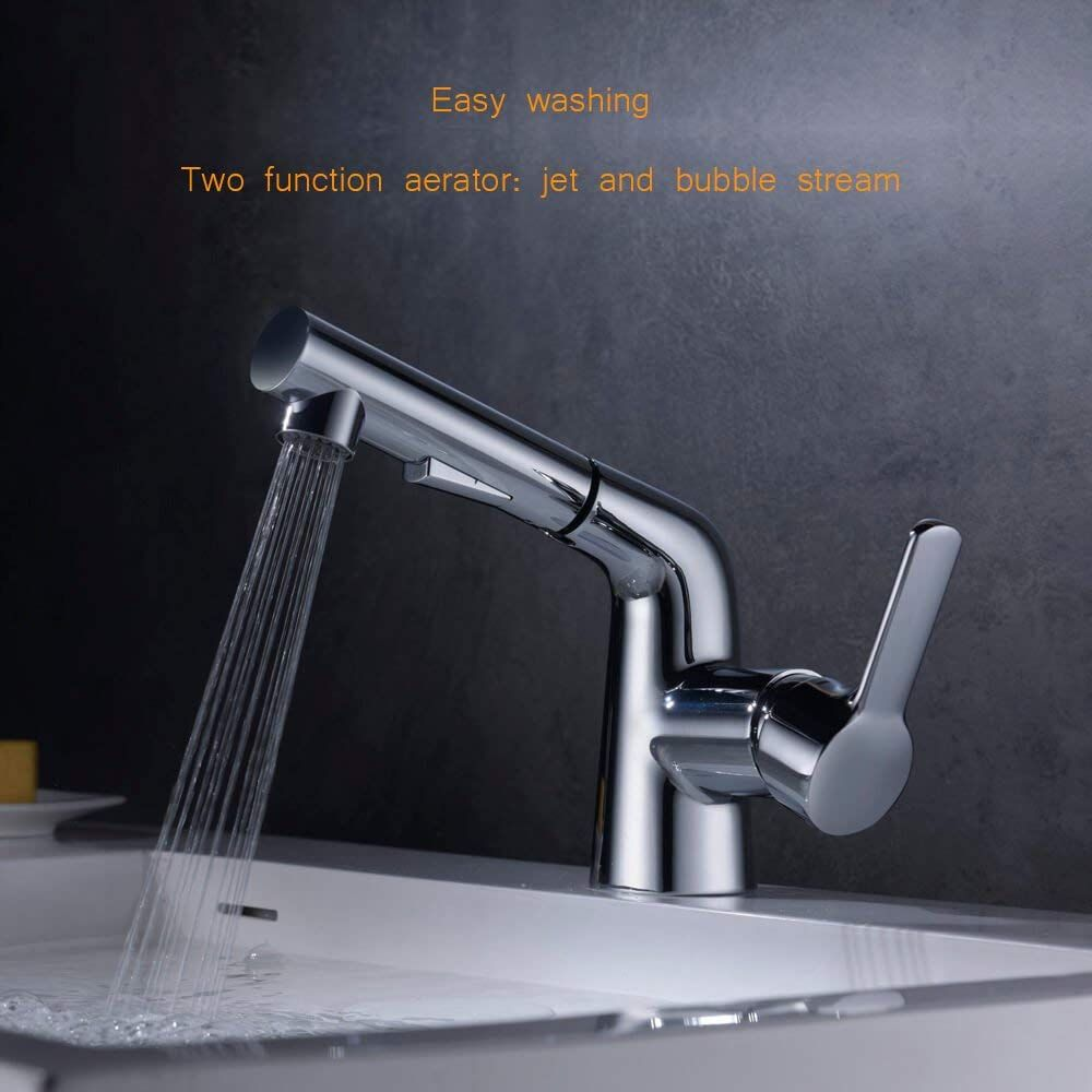 Bathroom Sink Faucet Crea Basin Mixer Tap With Pull Out Sprayer Single Handle Amazon Co Uk Diy Tools Basin Mixer Taps Basin Mixer Faucet
