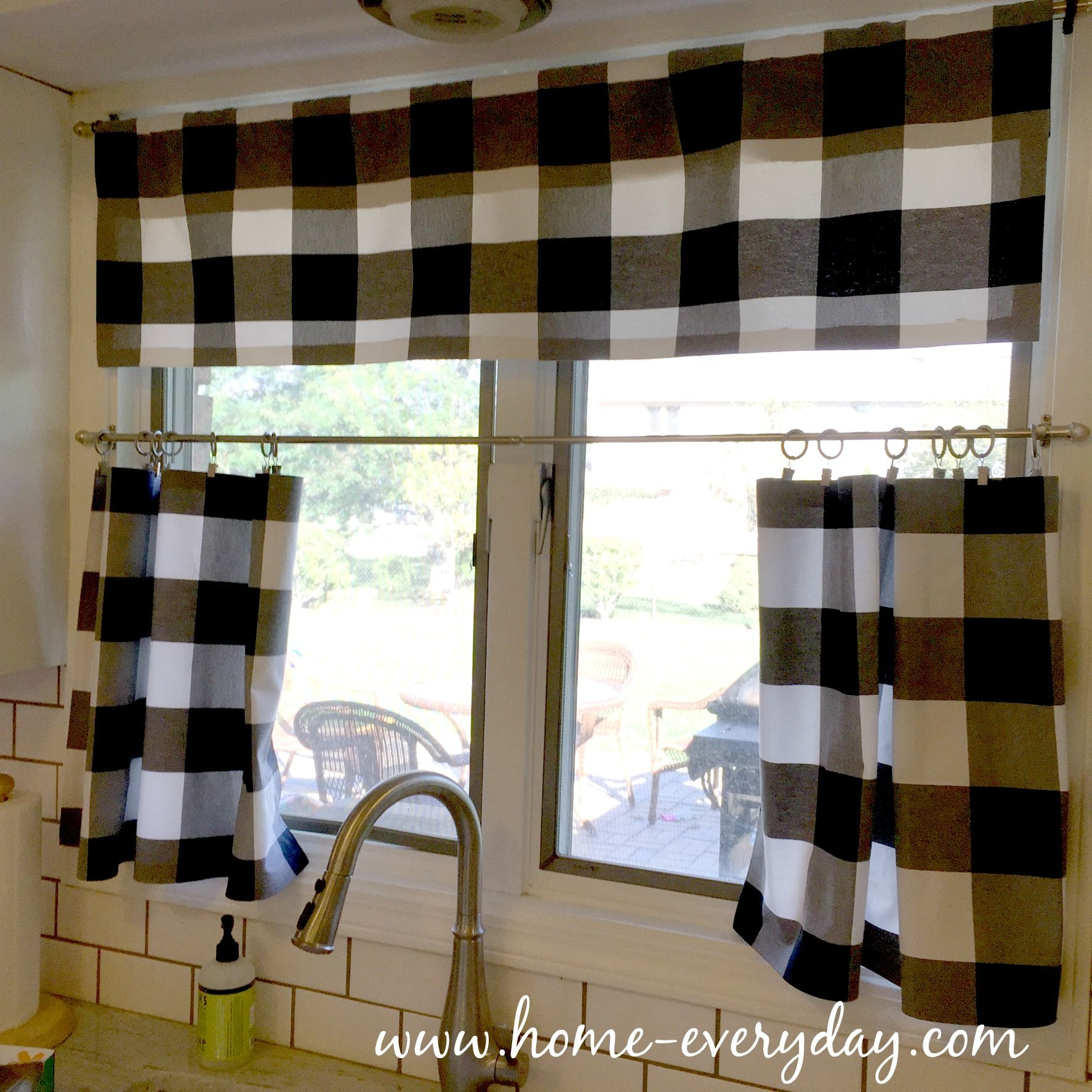 Black and white checked curtains - Cafe Curtains Kitchen Curtains Buffalo Check No Sew Window Treatments Black And White