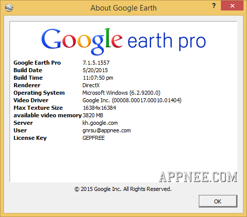 google earth pro license key and username free download