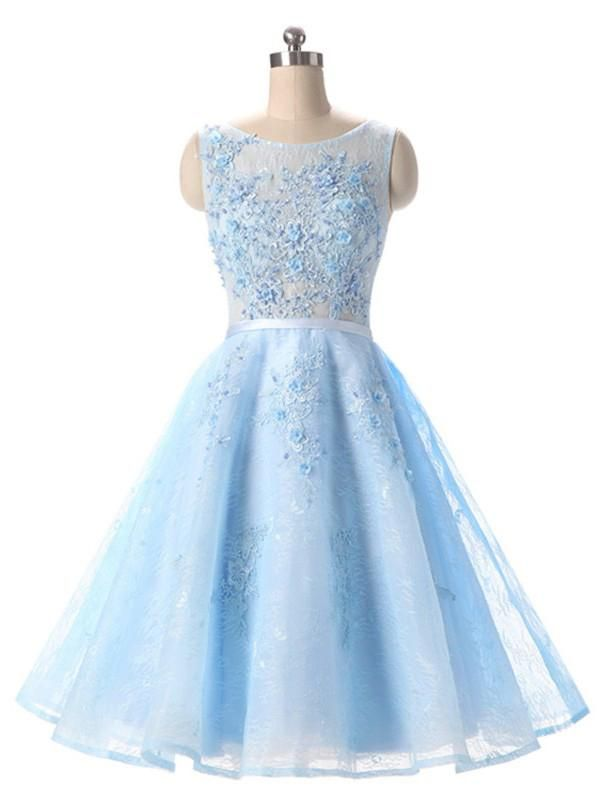 A-line Homecoming Dress Scoop Blue Short Prom Dress SKA107 | Short ...