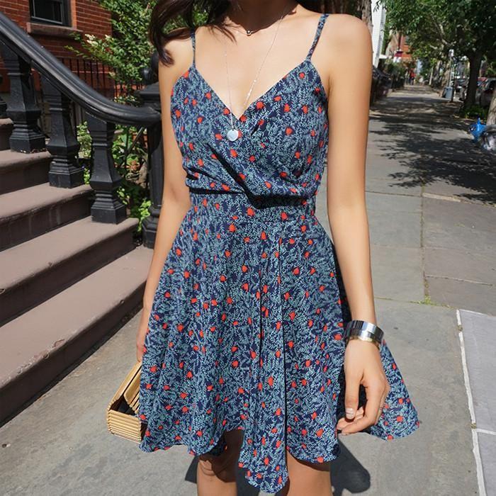 Chiffon V-neck Print  A-Line Slip Strap Dresses