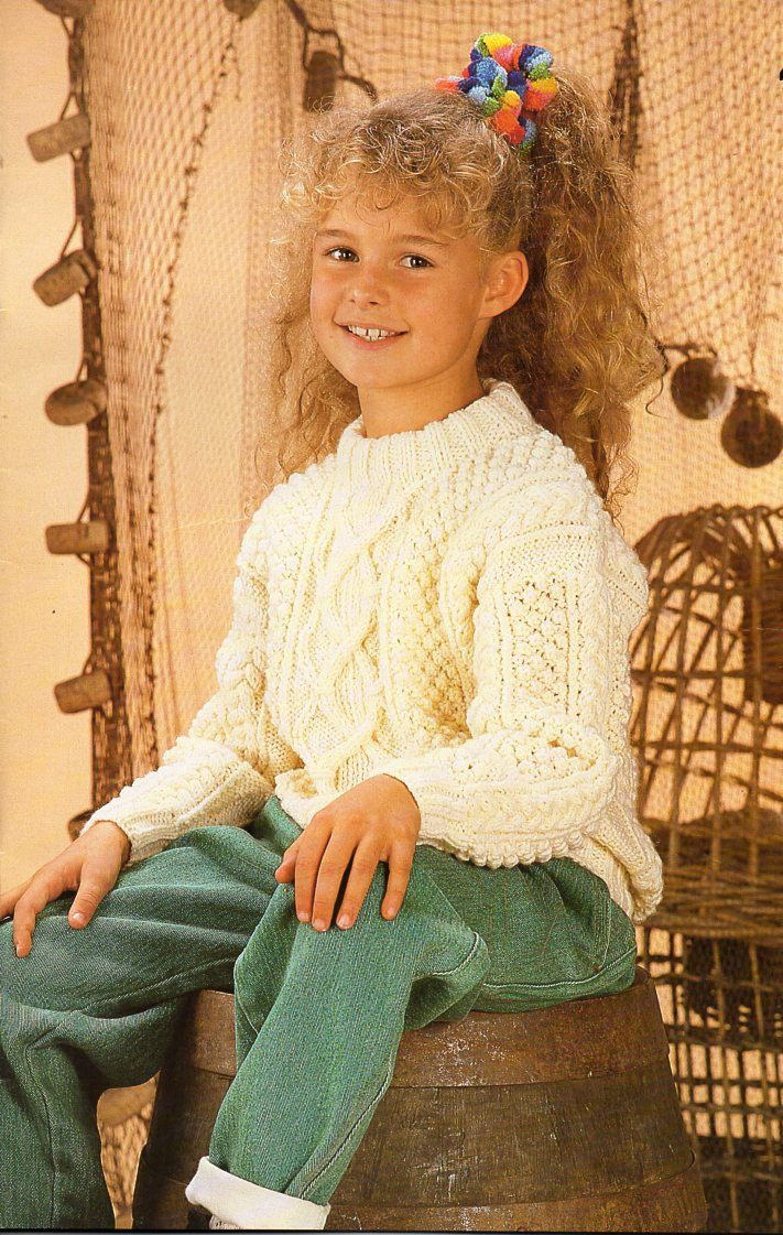 Childrens aran sweater knitting pattern pdf download childs cable ...
