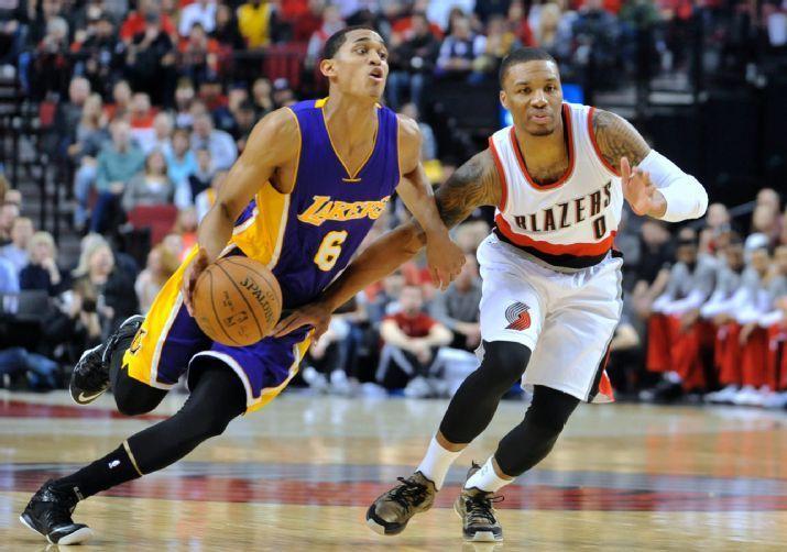 Los Angeles Lakers Vs Portland Trail Blazers Photos February 11 2015 Espn Los Angeles Lakers Jordan Clarkson Lakers Vs