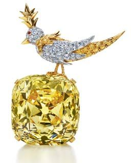 3e07fece6 Tiffany yellow diamond 'bird on a rock' brooch. The diamond is 128 carats!