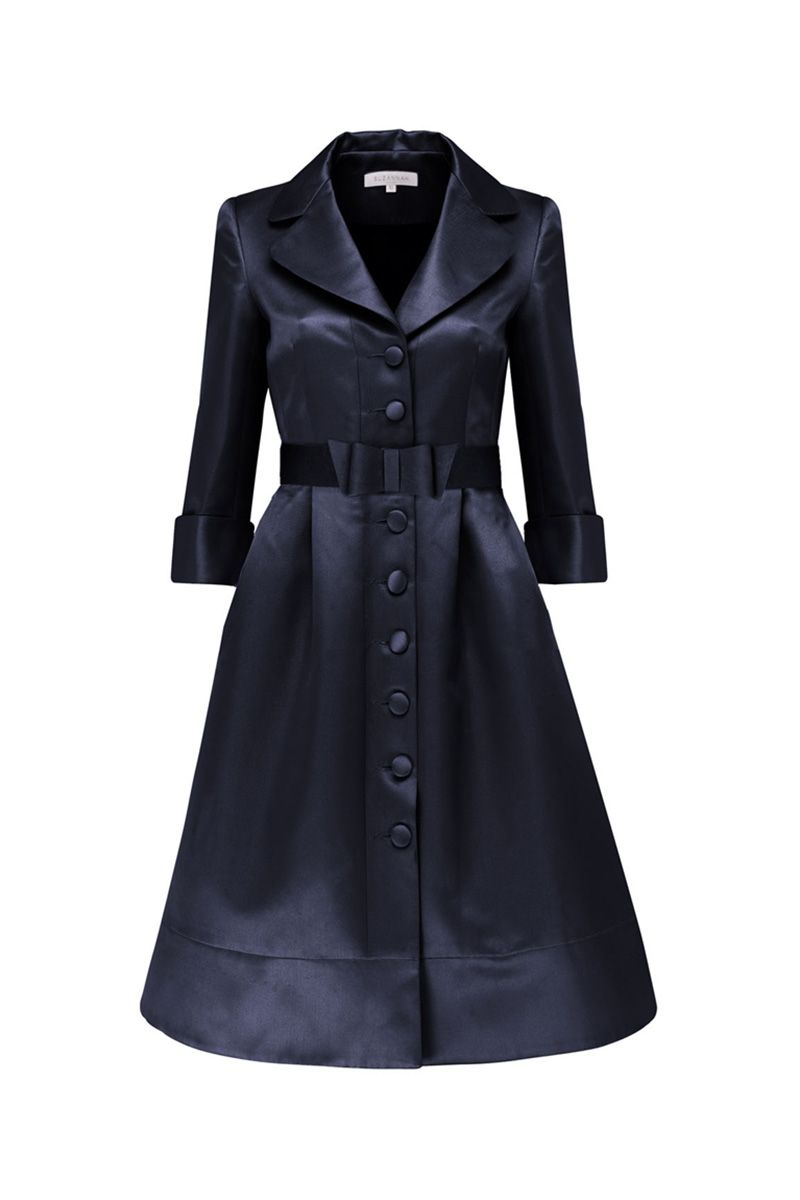 Dark Navy Italian twill glamorous dress coat with vintage archive ...