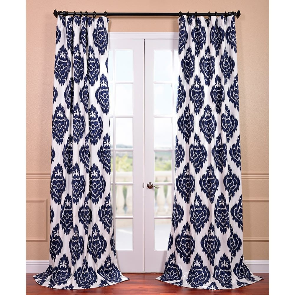 Exclusive fabrics ikat blue printed cotton curtain panel 84 in blue as is item 50w x 84l