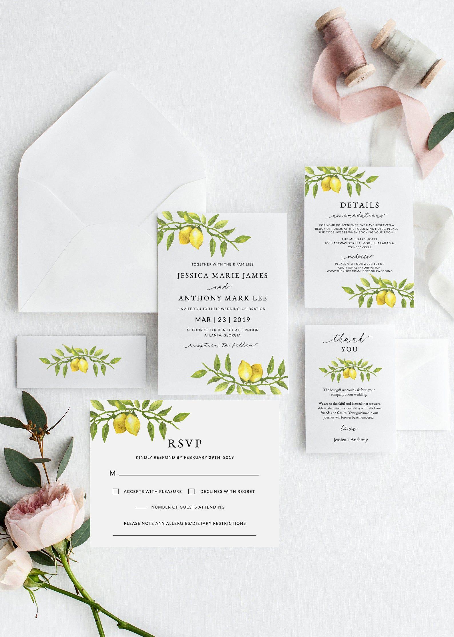 Lemon Wedding Invitation Template Download Printable Etsy Lemon Wedding Invitations Wedding Invitation Templates Wedding Invitations