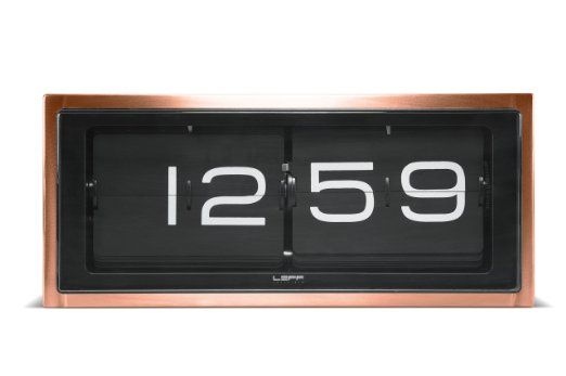 Leff Amsterdam 36 x 15.7 x 12.8 cm Copperplated Case Wall/ Desk Clock Brick Clock 24 hr Bronze, Copper