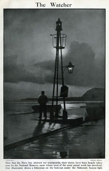 Jigsaw Puzzle-Naval reservist on duty, Sidmouth beacon light, WW1-500 Piece Jigsaw Puzzle made to order