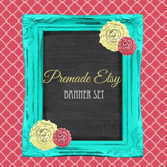 Premade Etsy Banner Set ,Vintage Frame, Chalk board, Quarterfoil, Paper Flowers on Etsy, $12.00