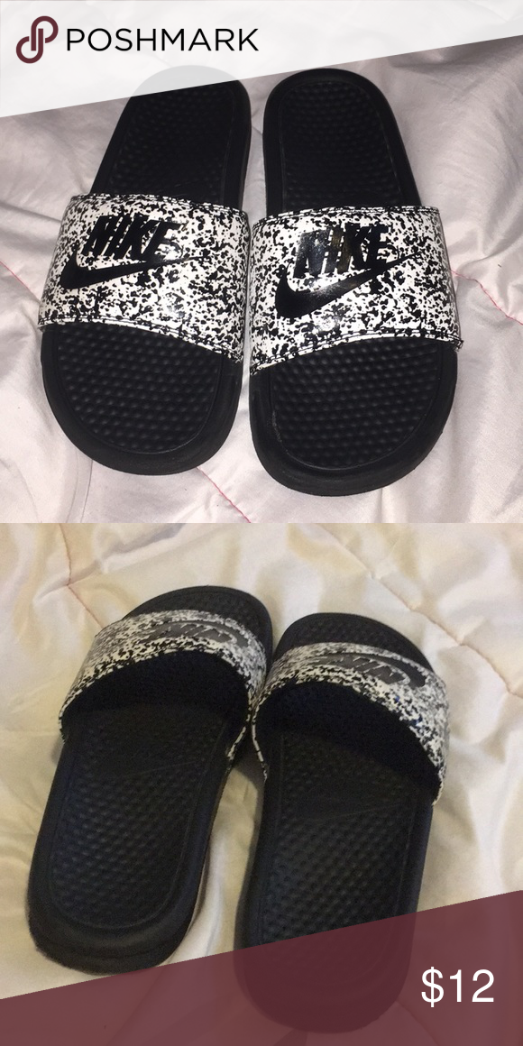 4f718b157f6925 Nike Slides White Band With Black Splatter Design Nike Shoes Sandals    Flip-Flops