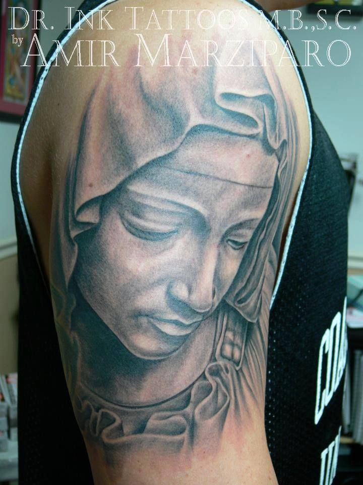 8a87f2237 Realistic Virgin Mary tattoo by Amir Marziparo | Dr Ink Tattoos ...