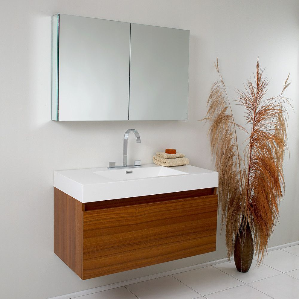 Fresca Mezzo Teak Modern Bathroom Vanity W Medicine Cabinet Free Faucet