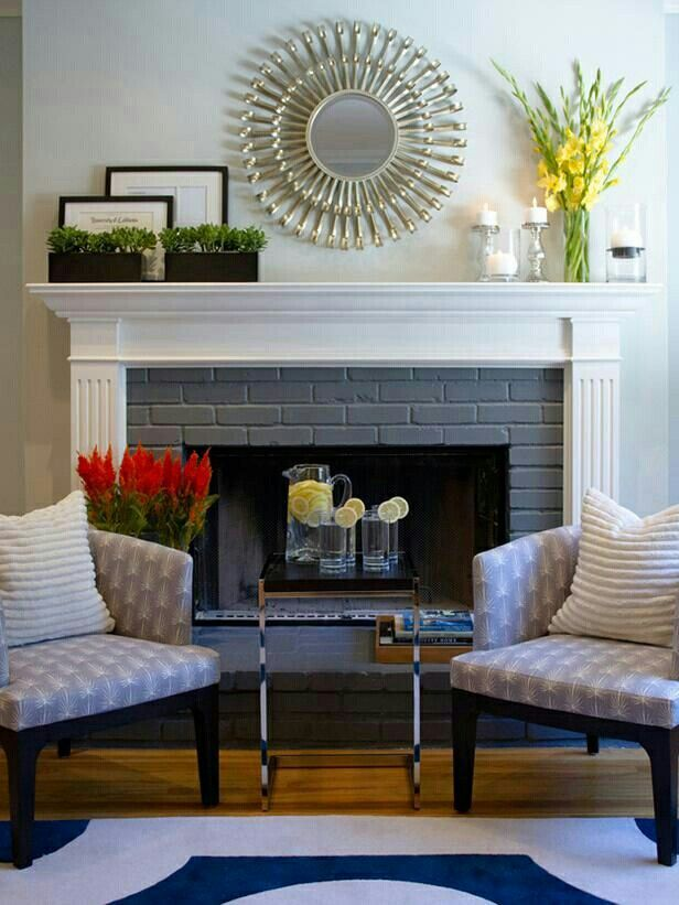Gray Brick White Mantle Eclectic Living Room Living Room With Fireplace Home
