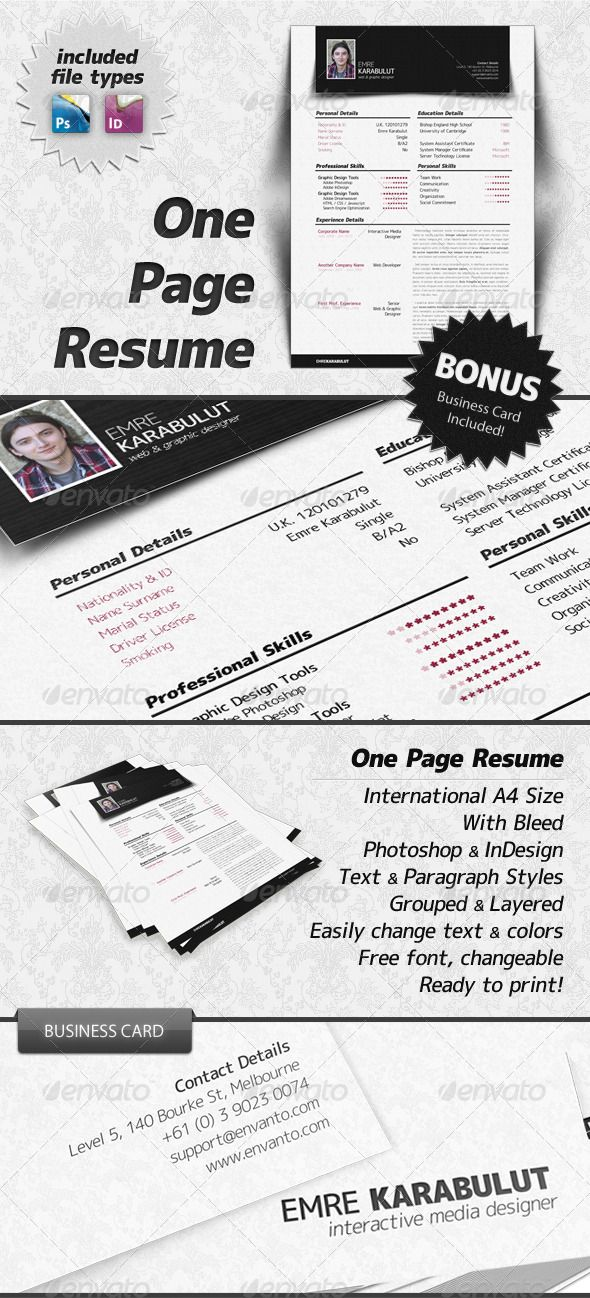 Minimalist One Page Resume (CV) Resume cv, Cv template and Template - single page resume